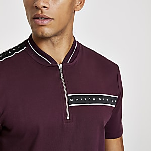 Dark red Maison Riviera zip neck polo shirt