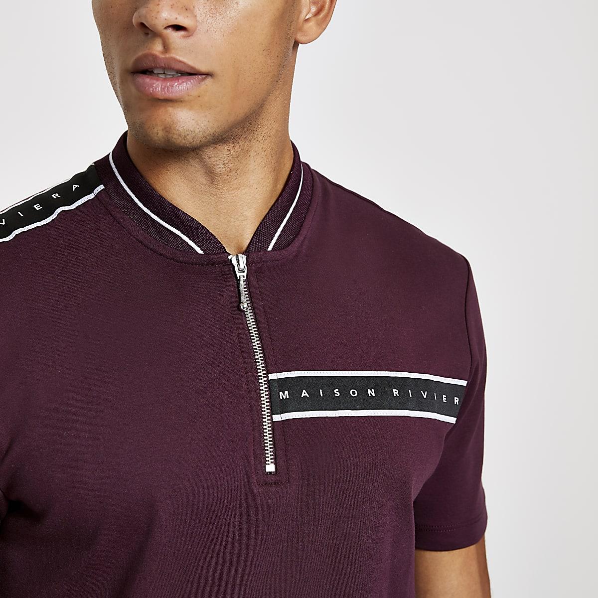 Dark red Maison Riviera zip neck polo shirt