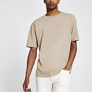 Kiezelkleurig oversized T-shirt met korte mouwen