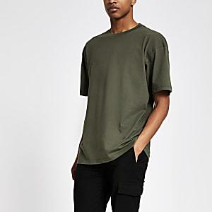 Donkergroen oversized T-shirt met korte mouwen