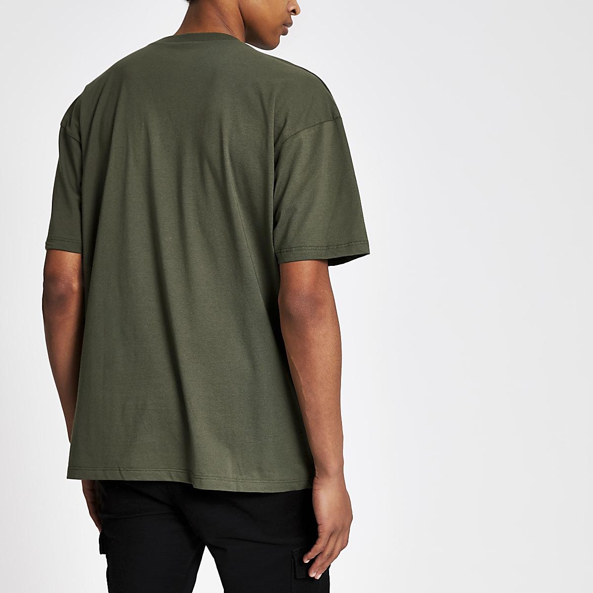 890c1e3c107 Dark green oversized short sleeve T-shirt