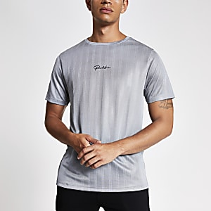Light grey Prolific slim fit football T-shirt
