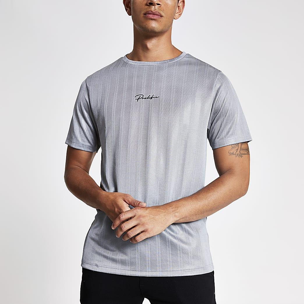 Light grey Prolific slim fit football T-shirt