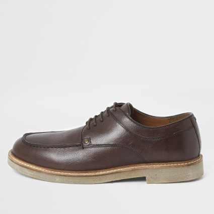 Dark brown leather lace up shoes