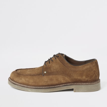 Brown suede lace-up shoes