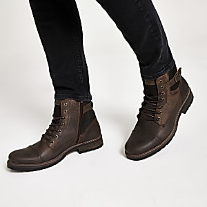Dark brown buckle lace-up leather boots