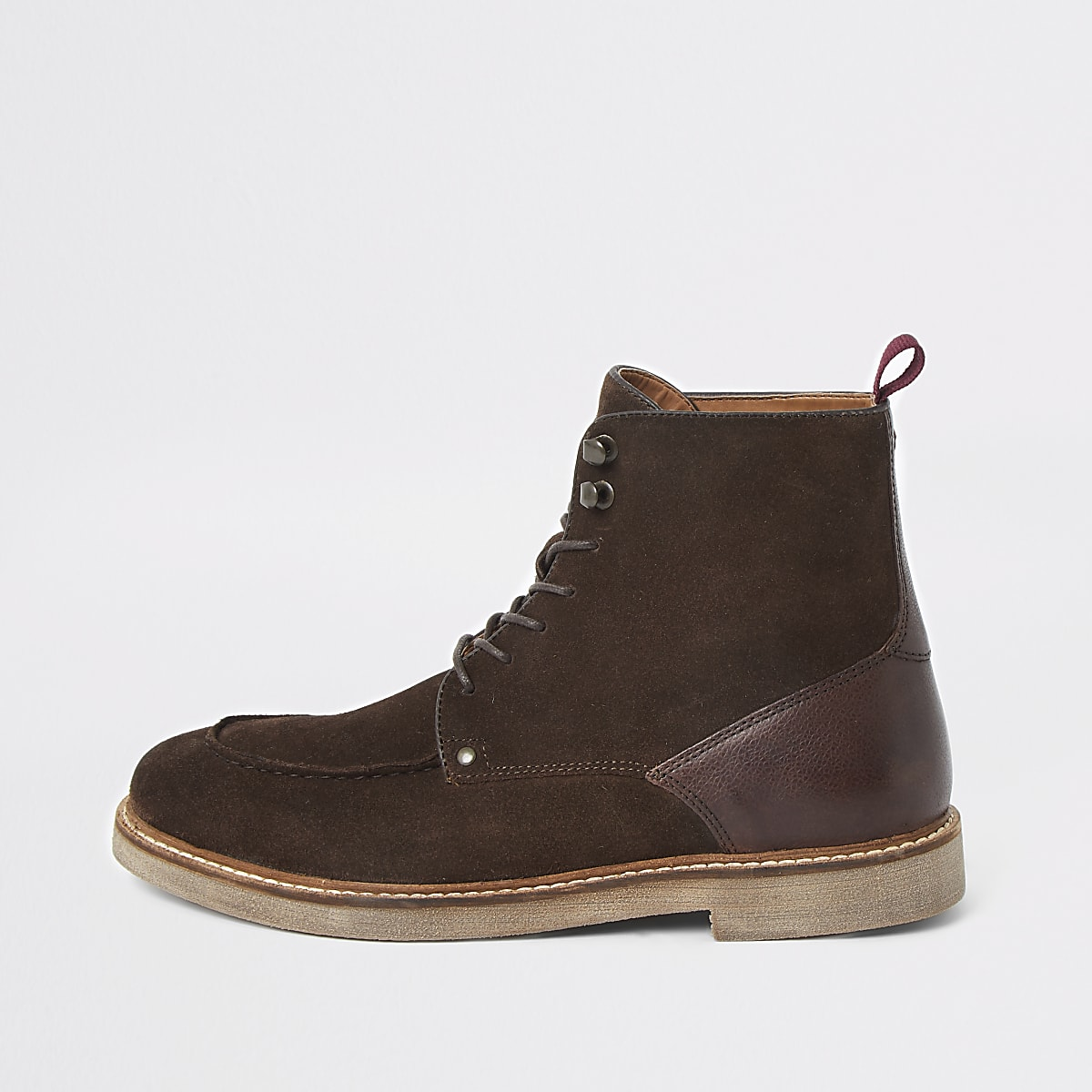 Dark brown suede apron toe lace-up boots