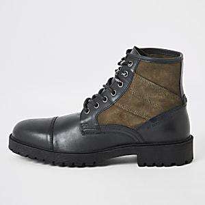 Zwarte contrasterende leren wandellaarzen met vetersluiting