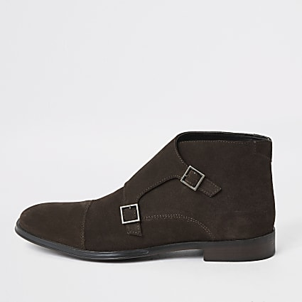Dark brown suede monk strap boot