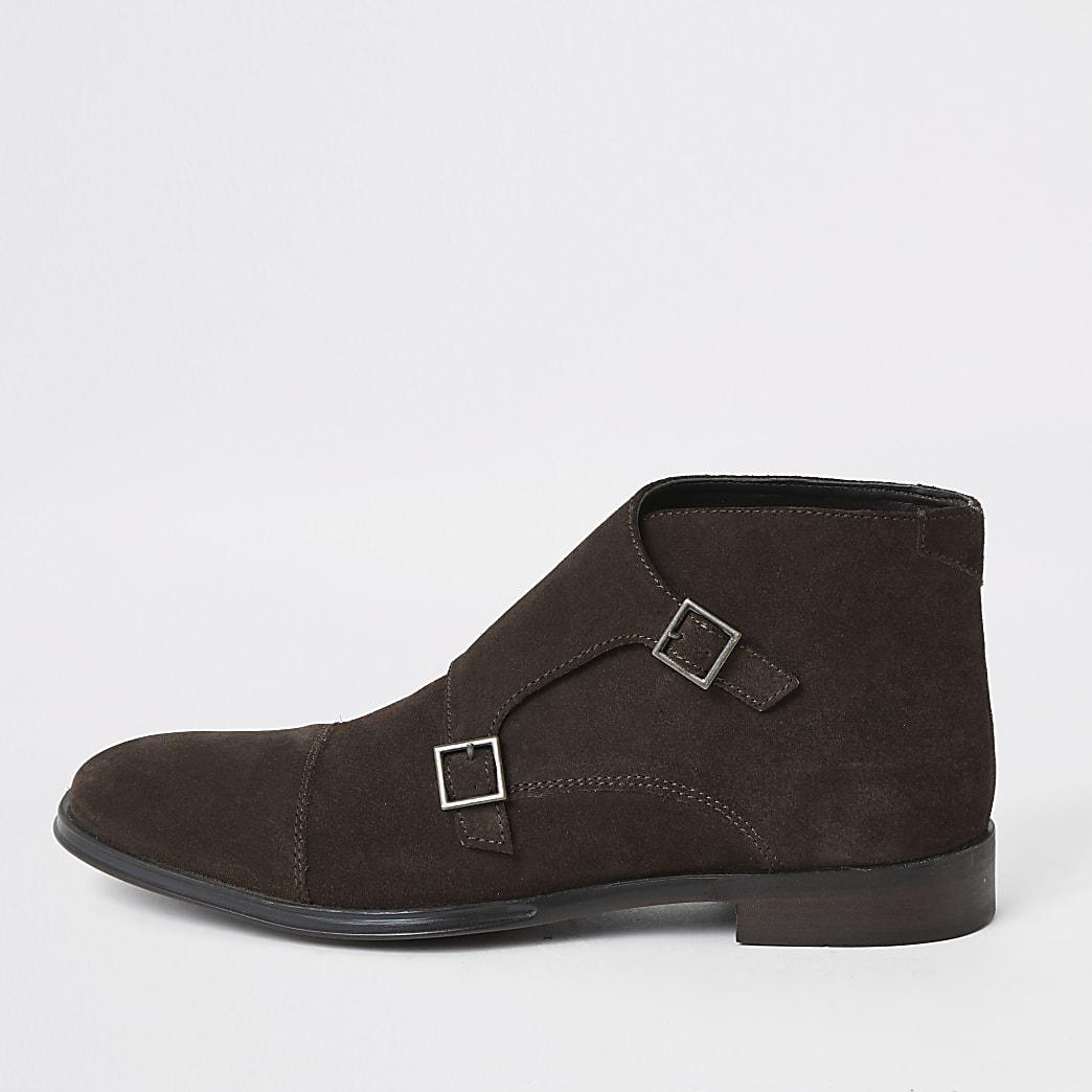 Dark brown suede monk strap boot