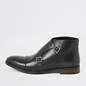 Schwarze Monk-Stiefel aus Leder mit Riemen