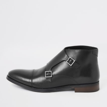 Black leather monk strap boot