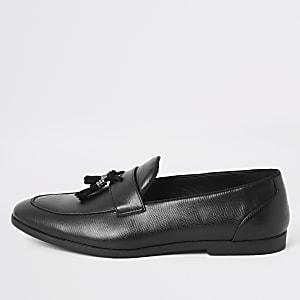 Zwarte loafers met slangenprint en kwastjes