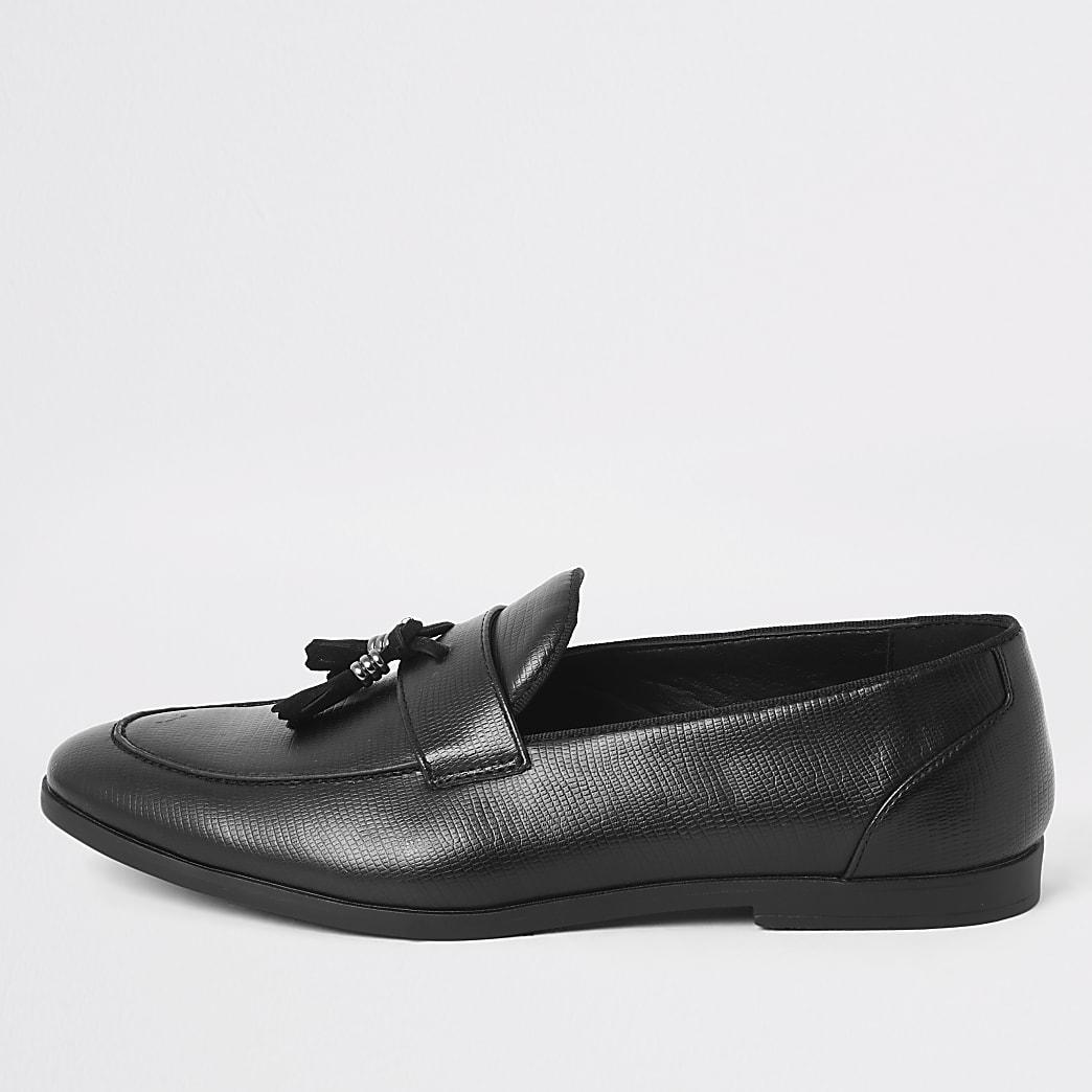 Black snake print embossed tassel loafers