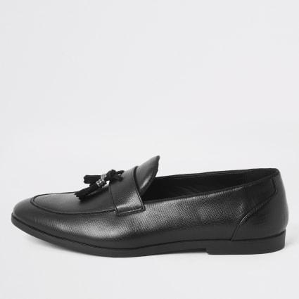 Black snake print embossed tassel loafers