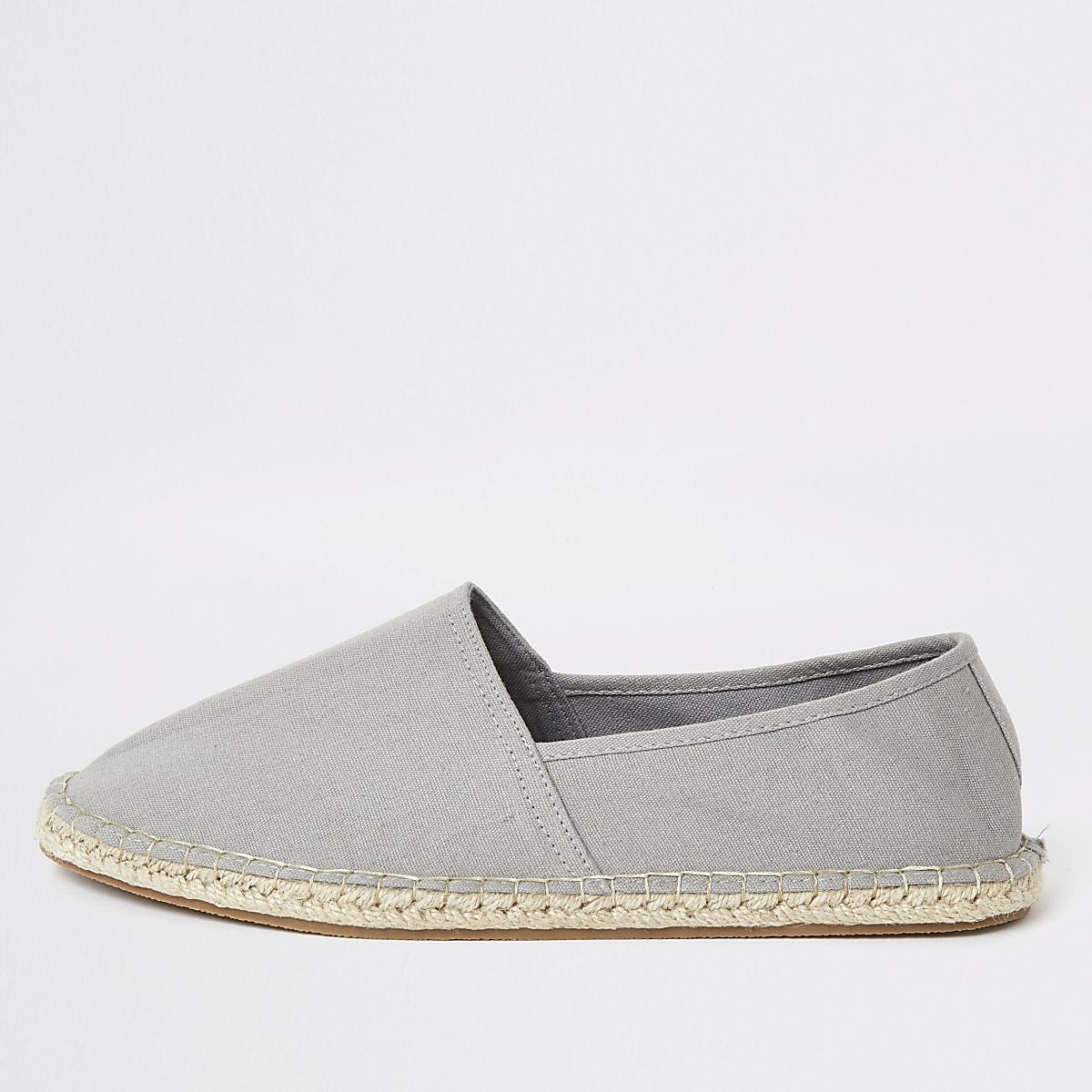 Grey espadrille slip on plimsolls