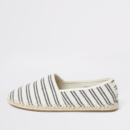 Stone stripe espadrille slip on plimsolls