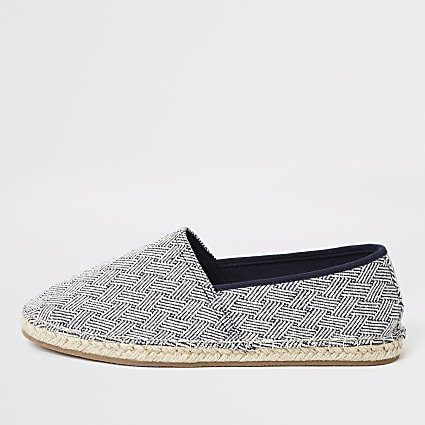 Blue cross stripes espadrille slip on