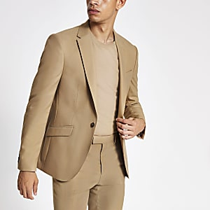 Ecru stretch skinny suit jacket