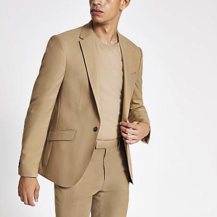 Ecru stretch skinny suit jacket