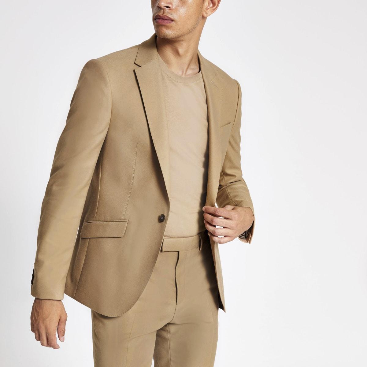 Camelkleurig skinny-fit colbert met stretch