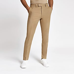 Ecru stretch skinny suit trousers