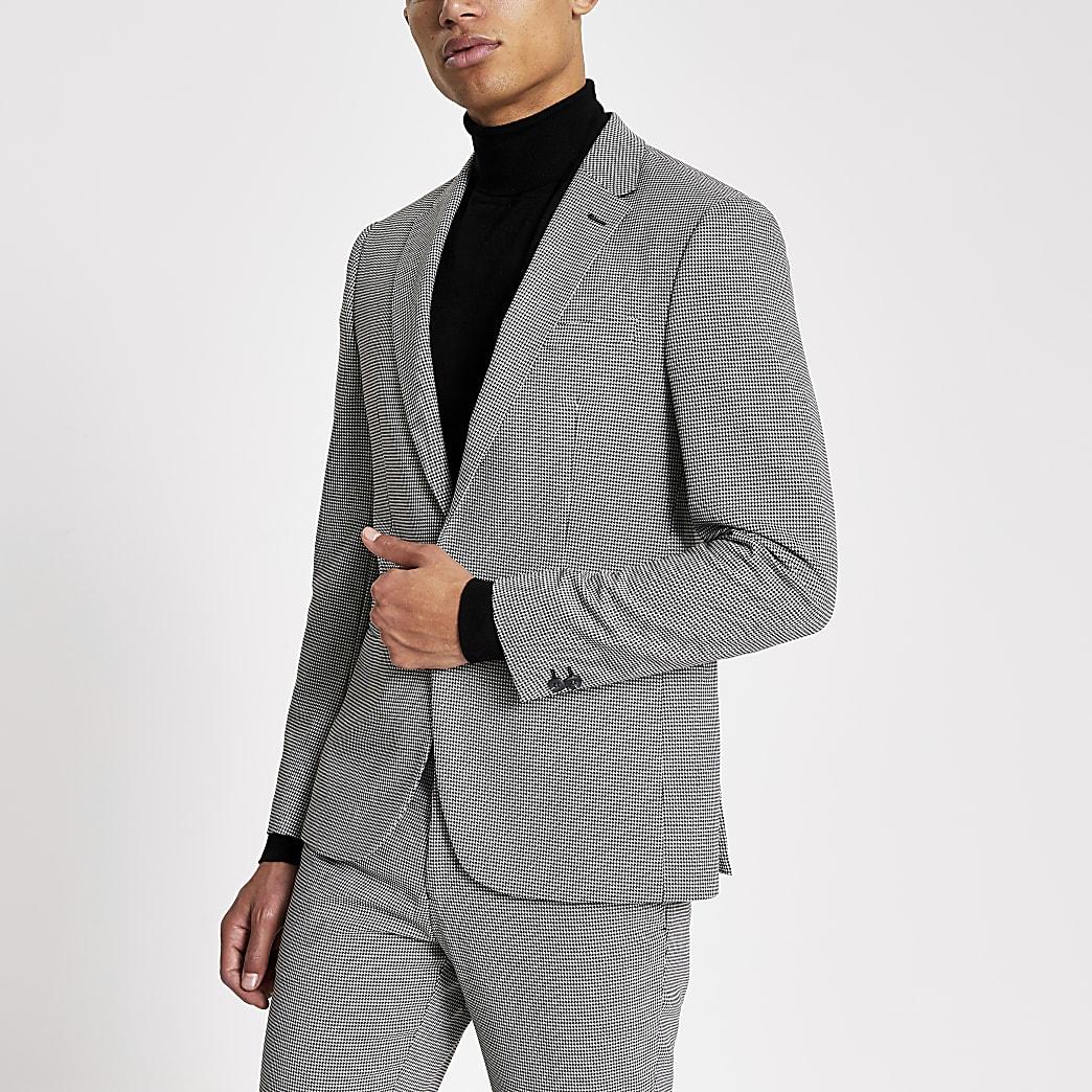 Veste de costume skinny à imprimé noir et blanc