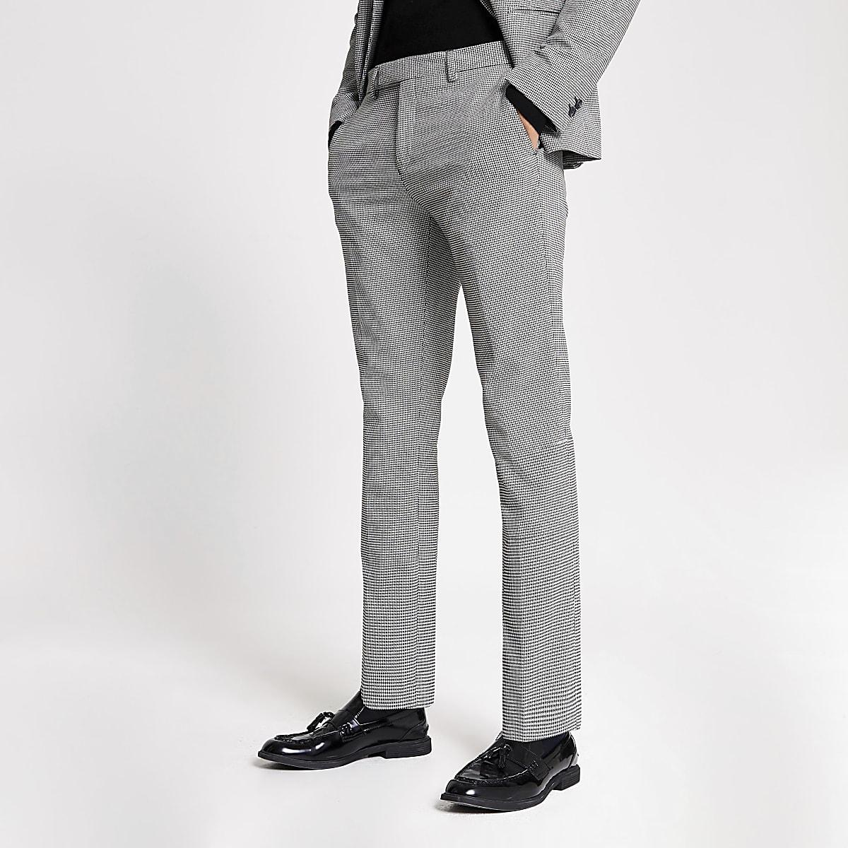 Black mono print skinny suit trousers