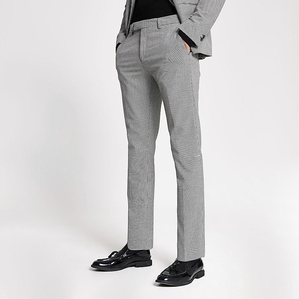 Zwarte skinny pantalon met monochrome print