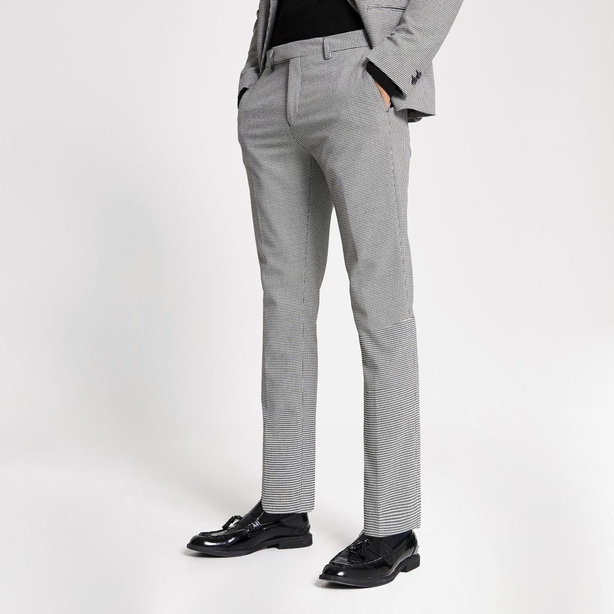 Pantalon de costume skinny imprimé noir et blanc