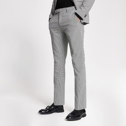 Black mono print skinny suit trousers