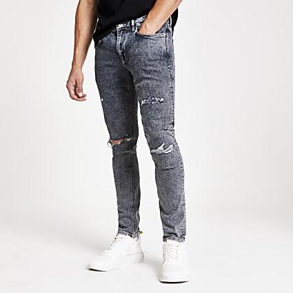 Grey wash ripped Sid skinny jeans