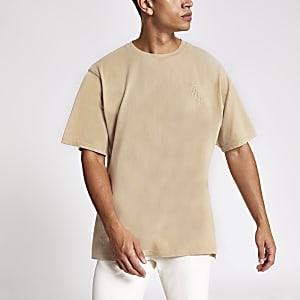 T-shirt grège délavé à broderie Svnth