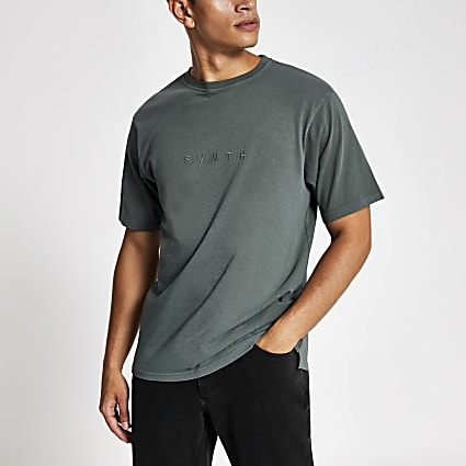 Dark blue washed Svnth embroidered T-shirt