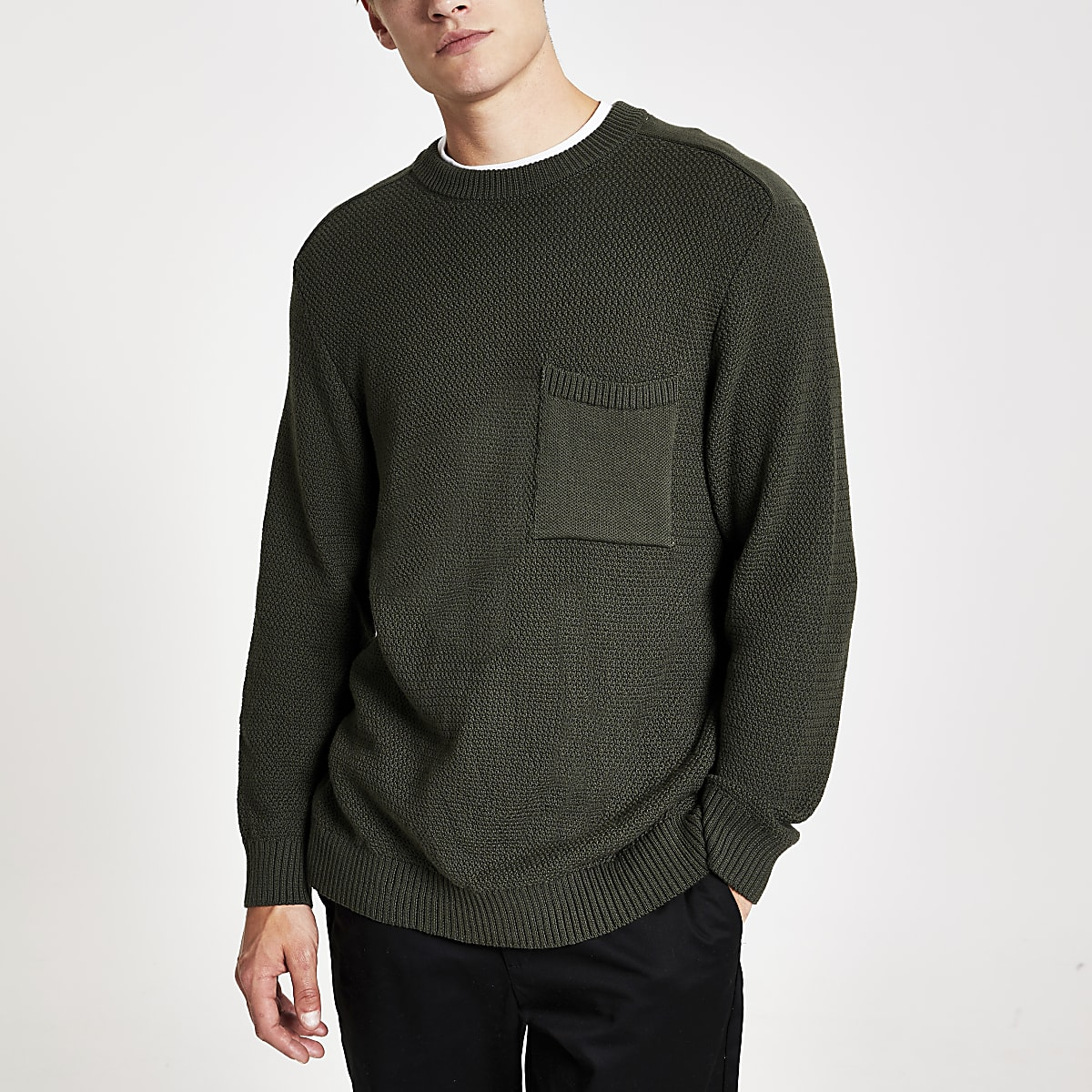 Green textured knit regular fit jumper