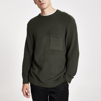 Green textured knit regular fit jumper