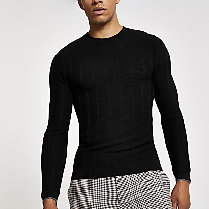 Black muscle fit knitted crew neck jumper