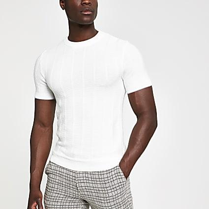 Ecru ribbed knit slim fit T-shirt