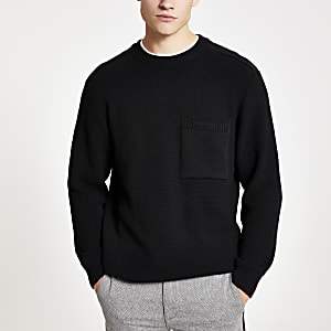 Black textured knit oversized jumper