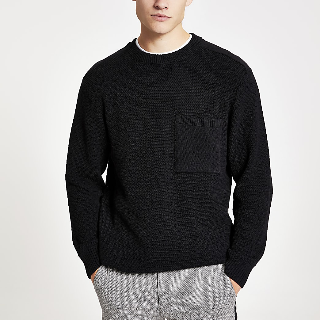 Black textured knit regular fit jumper