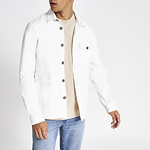 Wit overshirt met button down-kraag en lange mouwen
