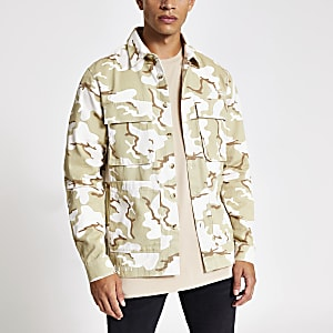 Green camo four print overshirt
