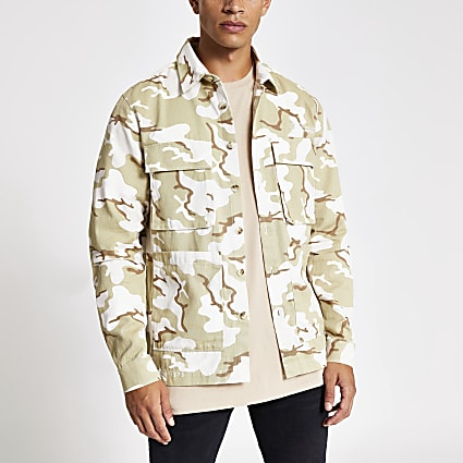 Green camo print long sleeve overshirt