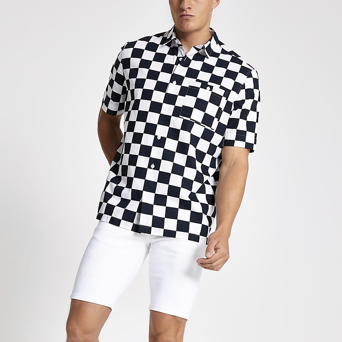 Zwart overhemd met dambord-print en normale pasvorm