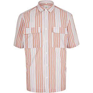 Roze gestreept overhemd met dubbele zak