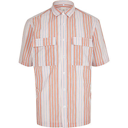 Pink stripe double pocket shirt