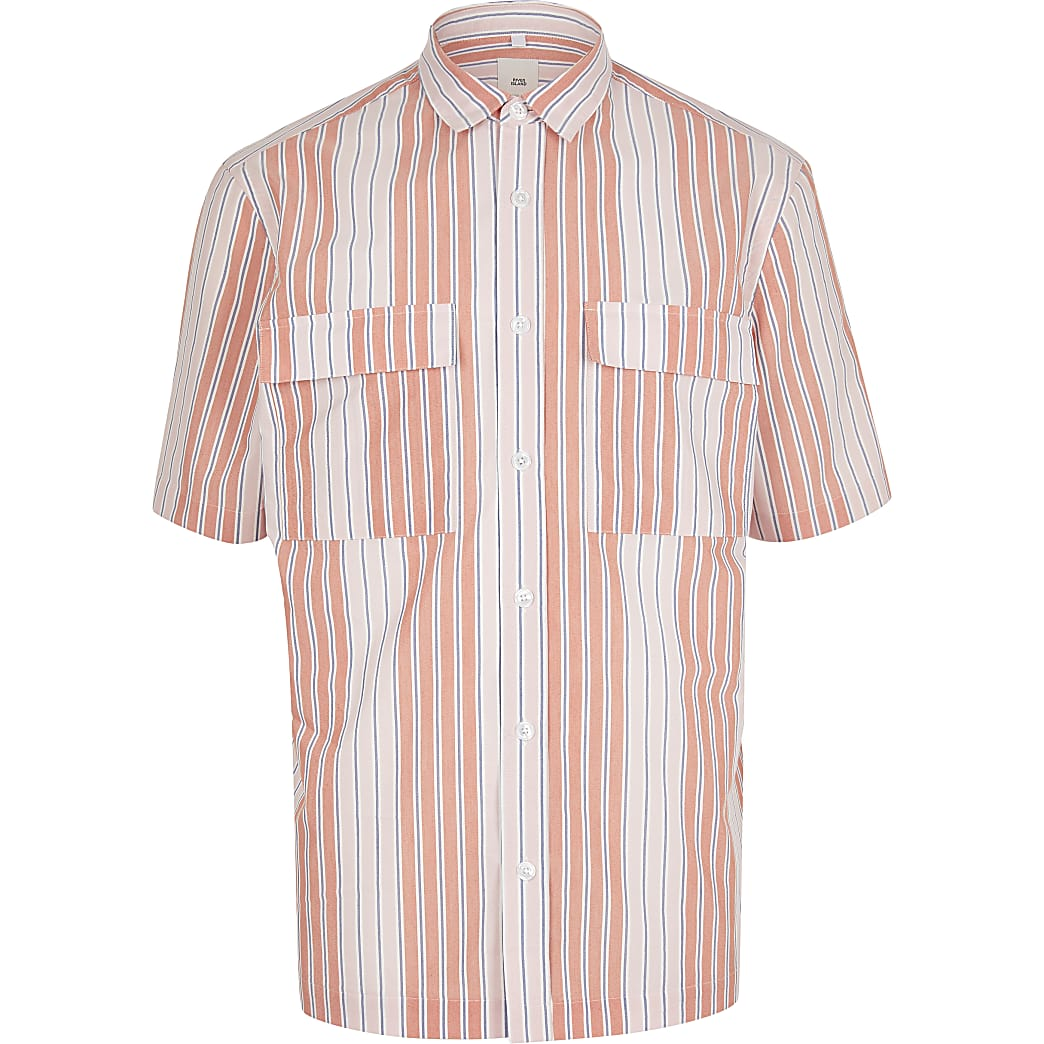 Pink stripe double pocket shirt