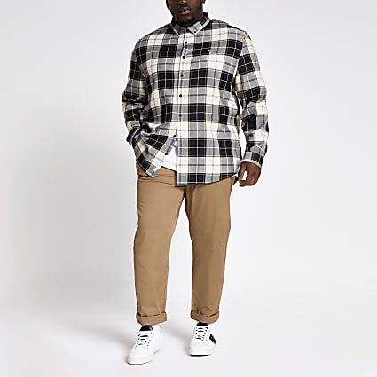 Big and Tall ecru check long sleeve shirt