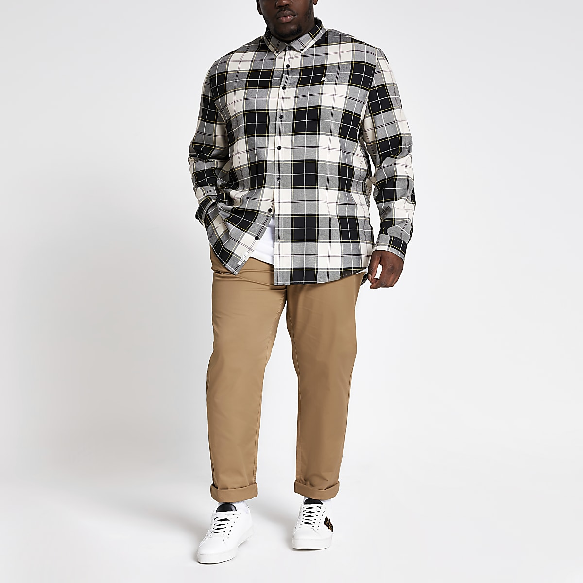 Big and Tall ecru check long sleeve shirt