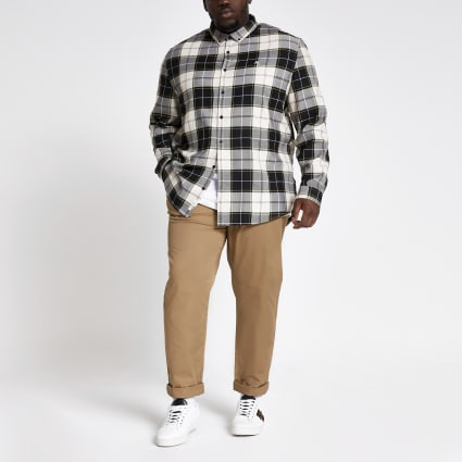 Big and Tall ecru check regular fit shirt